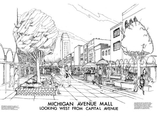 A rendering of the Michigan Avenue Mall, later known as the Michigan Mall, from Battle Creek's master plan in 1966.