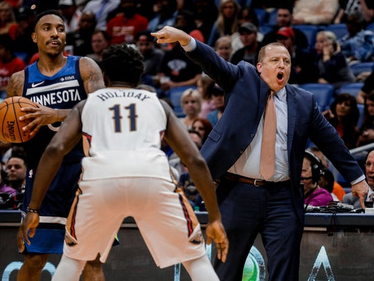 Minnesota Timberwolves head coach Tom Thibodeau calls