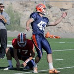 UTEP kicker/punter Jay Mattox (47) at MIners practice Wednesday morning in preparations for this Saturdays game agianst UTSA in the Sun Bowl.
