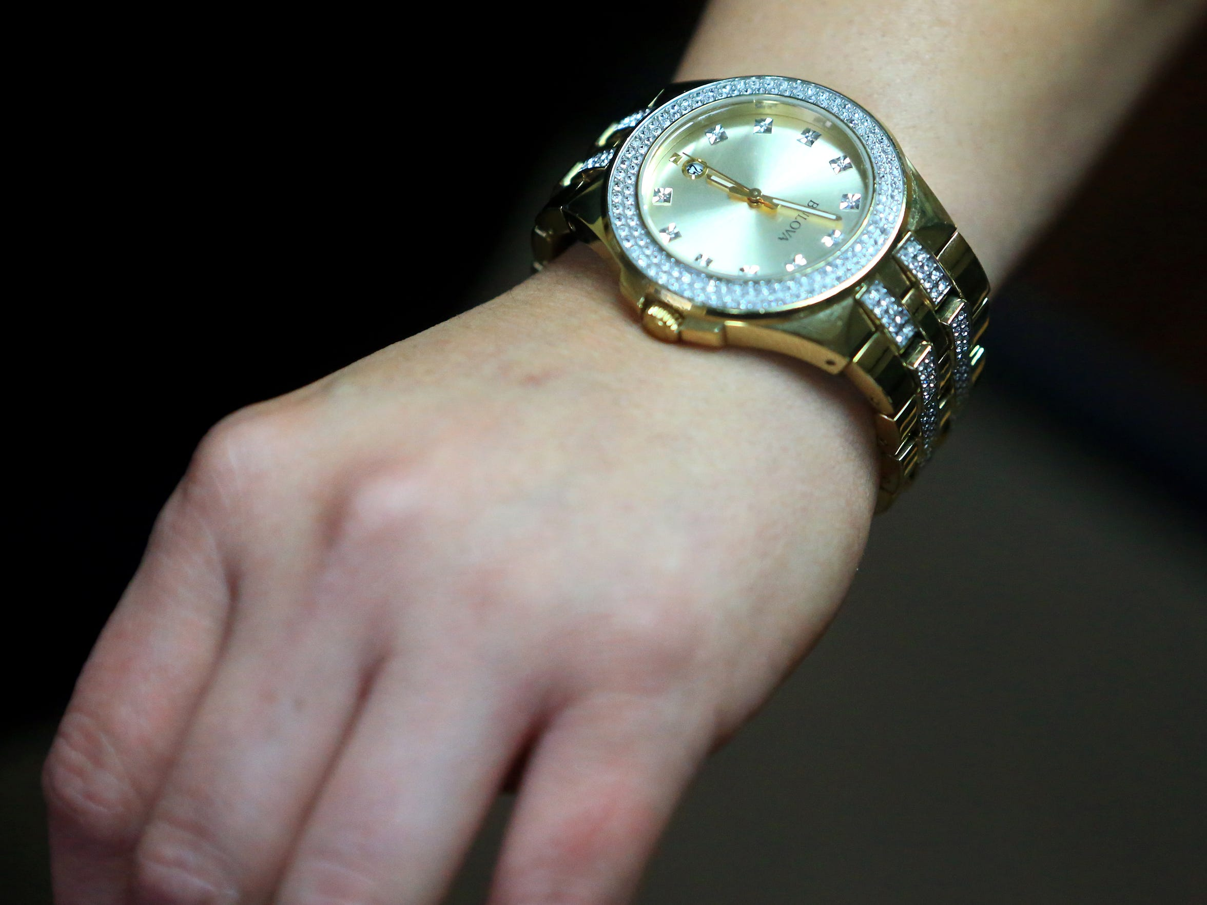 Marina Garcia wears hers sons Josiah Christian Cantu watch that he bought with his own money on graduation April 11, 2017, in Corpus Christi. Cantu died from a gun shot wound in the stomach last year. Corpus Christi Police initially said Cantu shot himself, but a year later Nueces County District Attorney Mark Gonzalez is seeking a criminal indictment against a friend.