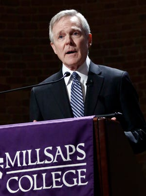 Former Secretary of the Navy and former Mississippi Gov. Ray Mabus addresses an audience at Millsaps College in Jackson, Miss., Friday, Feb. 17, 2017. Mabus spoke of the efforts to strengthen the Navy and Marines during his eight year tenure as Secretary.