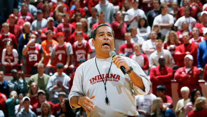 """Indiana University men's basketball coach Kelvin Sampson faces a packed stands full of red IU faithful on Friday, Oct. 12, 2007, during """"Midnight Madness"""" as his team kicked off an open practice session."""