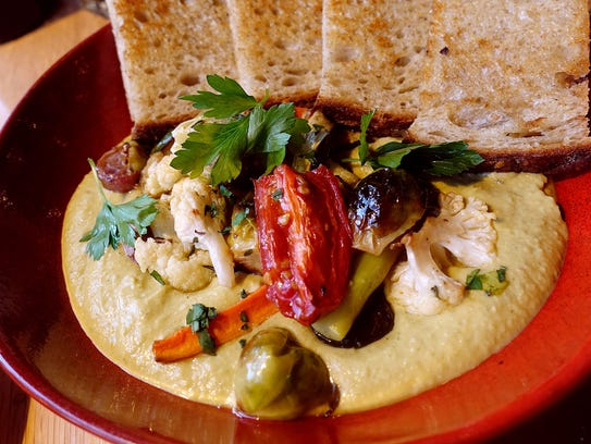 Chickpea hummus with roasted vegetables and organic
