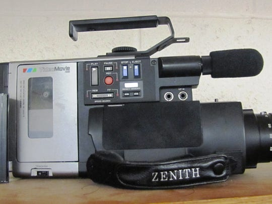A video camera of the style popular in the 1980s to record family events and vacations on videotape in technology museum being created at Horseheads Intermediate School.
