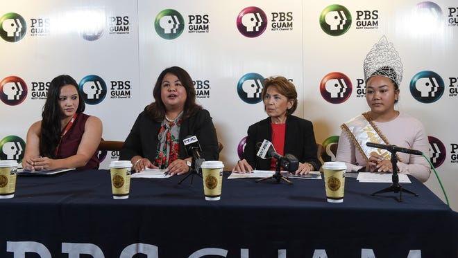 PBS Guam held a press conference to discuss the theme and sponsors for its official live broadcast of the 74th Guam Liberation Day Parade, at the GPO Port of Mocha on July 2, 2018. From left: GTA marketing specialist Michele Catahay Perez, PBS Guam Acting General Manager Kate Baltazar, Jacqueline A. Marati, Bank of Guam's senior vice president and chief communications officer, and Kamarin Nelson, the 74th Guam Liberation Queen.