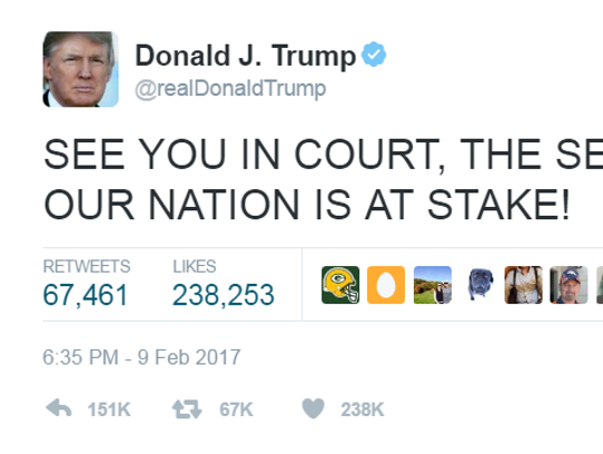 Trump responded, on Twitter, to the ruling from the