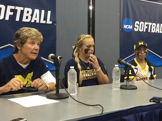 Michigan coach Carol Hutchins, pitcher Megan Betsa and infielder Sierra Romero talk about the team's 8-0 win Friday, May 20, 2016.