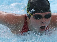 Ella Harshman on her way to winning the girls 10 & under 50 Yard Breaststroke during the Westchester County Swimming Championships at Rye Playland Aug. 6, 2015.
