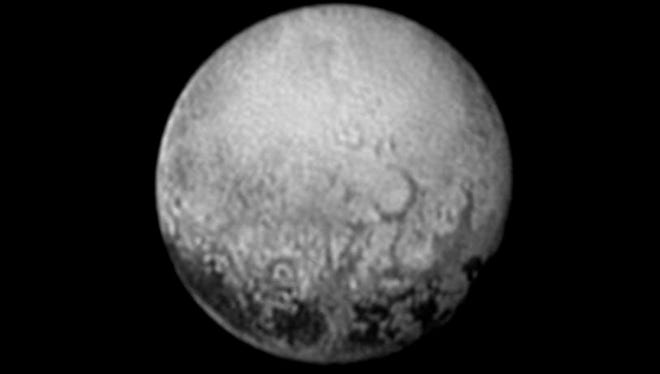 The dwarf planet Pluto is shown at distance of about 2.5 million miles on July 11, 2015 (Earth time frame).