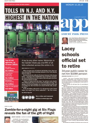 Asbury Park Press front page, Monday, October 26, 2015
