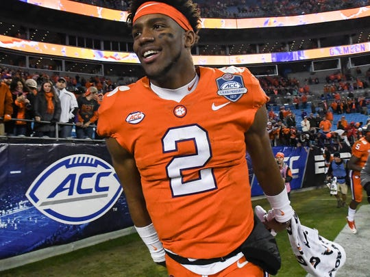 Clemson quarterback Kelly Bryant(2) celebrates a 38-3 in over Miami in the ACC football championship game in Charlotte on December 2, 2017.