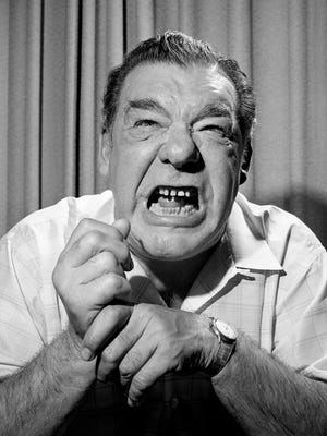Actor Lon Chaney shows off his Wolf Man's growl during an interview April 17, 1965. He is in town for the March of Dimes benefit show at Municipal Auditorium.