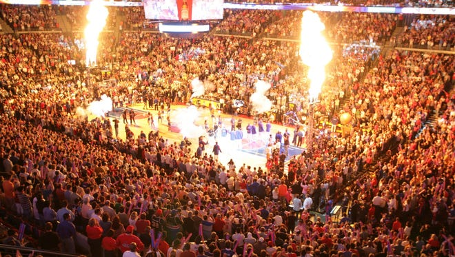 A view of the crowd during the opening ceremony at  the Palace of Auburn Hills during Game 4 of the NBA Finals on June 16, 2005.