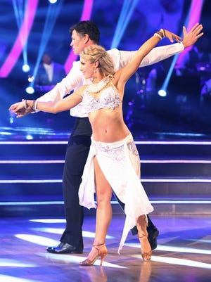"Michael Waltrip and Emma Slater on an episode of ""Dancing with the Stars."" Slater will be part of the live performance in Cincinnati."