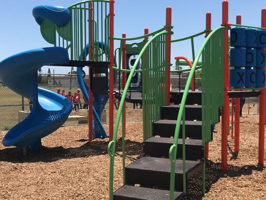 The new playground at the Boys and Girls Club of the Coastal Bend was designed by the kids before volunteers built the structure on Thursday, May 17, 2018.
