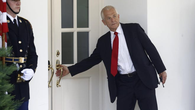 White House trade adviser Peter Navarro enters the West Wing on July 8 shortly before Mexican President Andres Manuel Lopez Obrador arrives to meet with President Donald Trump at the White House in Washington.