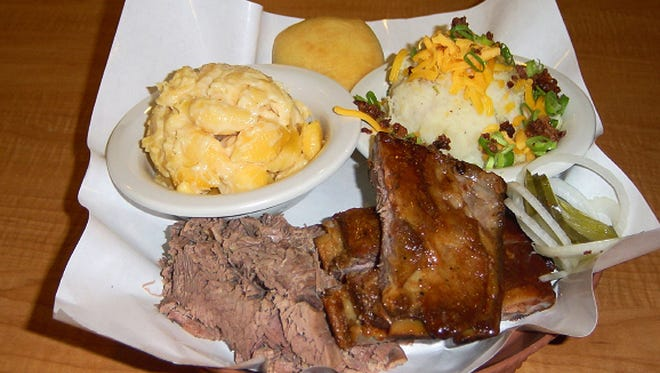 The two meat combo, ribs and brisket is a meal at Dickey's Barbecue Pit, a restaurant that could come to Greenfield.