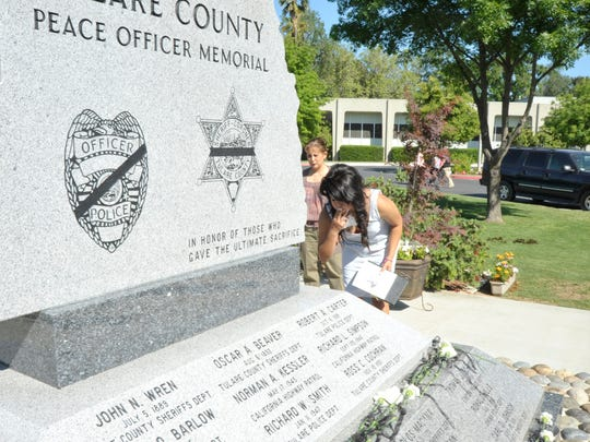 A water feature is being added to the  Tulare County Peace Officers Memorial.