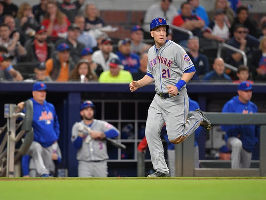 Apr 20, 2018; Atlanta, GA, USA; New York Mets third