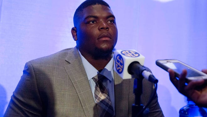 Kentucky's Melvin Lewis speaks to the media at the Southeastern Conference NCAA college football media days, Wednesday, July 15, 2015, in Hoover, Ala. (AP Photo/Brynn Anderson)