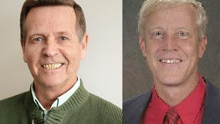 Bill Wright, left, is running for the seat currently held by Larimer County Commissioner Steve Johnson, right.