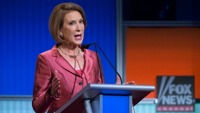 Carly Fiorina speaks during the Fox News pre-debate forum at the Quicken Loans Arena on Aug. 6, 2015, in Cleveland.