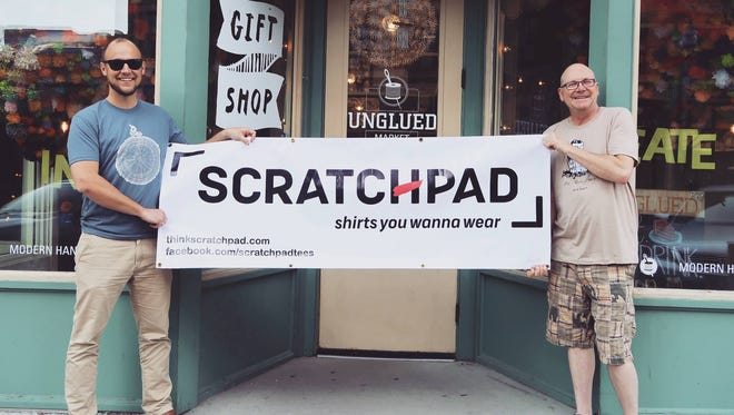Chris Bierle (left) and Craig Brown. Scratchpad T-shirts will open in Unglued downtown.