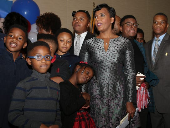 Atlanta mayoral candidate Keisha Lance Bottoms stands