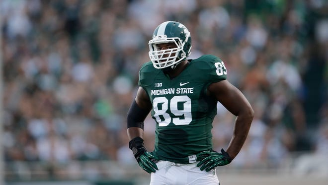 Michigan State defensive end Shilique Calhoun lines up against Jacksonville State on Aug. 29, 2014.