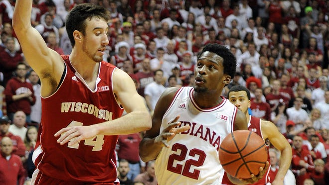 Frank Kaminsky (left) has scored 46 points in Wisconsin's last two games. He and the Badgers will look for payback Tuesday night after losing to Indiana in Bloomington.