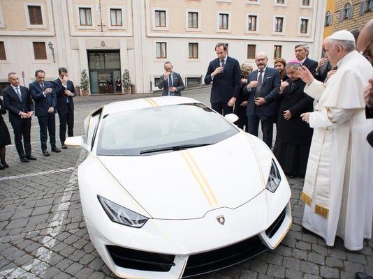 APTOPIX Vatican Pope Lamborghini