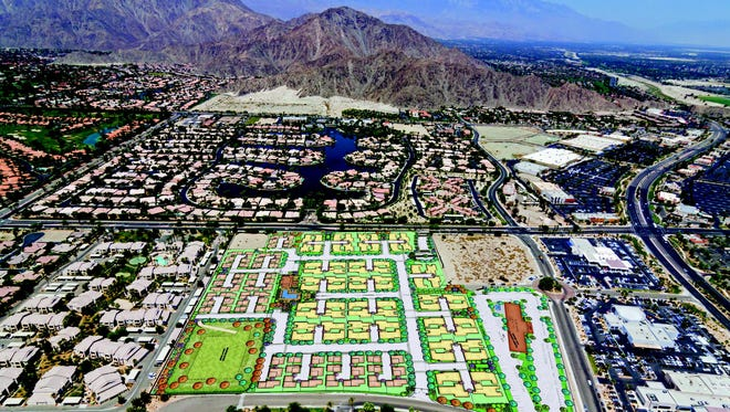 Rendering of The Centre to be constructed in La Quinta which includes residential homes and a hotel.