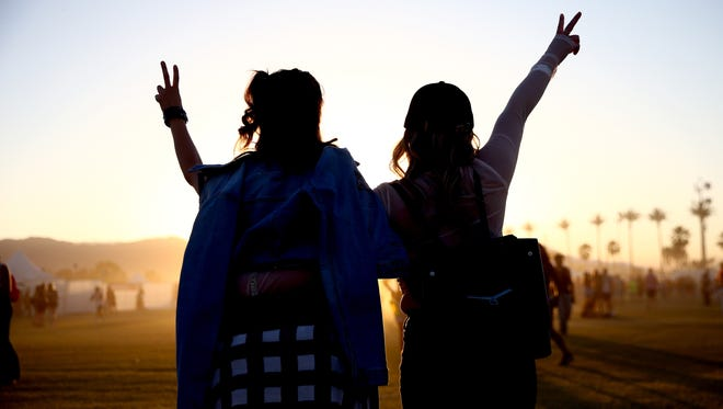 Festival-goers during the Coachella Valley Music And Arts Festival at the Empire Polo Field in April in Indio, California.