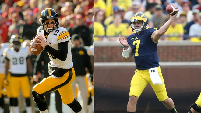 Jake Rudock (left) is in competition with Shane Morris (right) to be the starting quarterback at Michigan after transferring from Iowa.