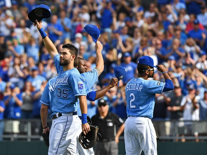 Oct. 1: Royals players Eric Hosmer (35), Mike Moustakas