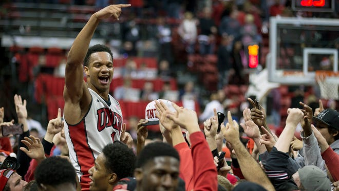 UNLV guard Rashad Vaughn celebrates a after defeating Arizona.