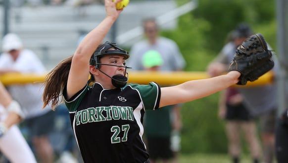Yorktown's Erica Salveggi pitching against John Jay