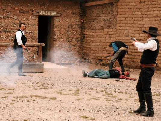Historic gunfights of the Old West will be re-anacted by the Pistoleros del Norte, a stunt team out of El Paso, during the Shakespeare, N.M., Ghost Town Tours at 10 a.m. and 2 p.m. Saturday and Sunday. Shakespeare is 2  miles south of Lordsburg in Hidalgo County.