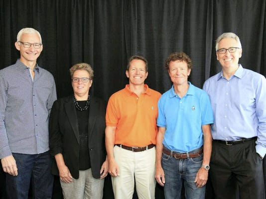 Menchey Music Service president elected to NAMM Executive Committee: The global music product industry welcomes Menchey Music Service President Joel Menchey as incoming secretary of the National Association of Music Merchants' Board of Directors. The Hanover-based Menchey will serve as one of the five members of the association's executive committee. NAMM is the not-for-profit association with a mission to strengthen the 17 billion music products industry. It is comprised of approximately 9,900 member companies located in 102 countries. From left, are: Chairman, Mark Goff, president/owner of WH Paige & Company Inc.; Vice chair, Robin Walenta, president/CEO of West Music Co.; Secretary, Joel Menchey, president of Menchey Music Service; Treasurer, Chris Martin, chairman/CEO of C.F. Martin & Co. Inc.; and NAMM President/CEO Joe Lamond.