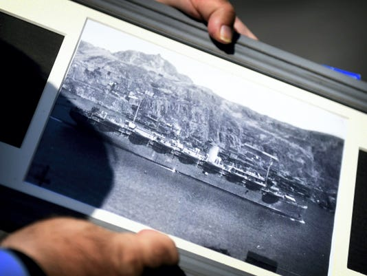 This is a rare photo of the USAT Dorchester, lost to a German submarine on Feb. 3, 1943. The photograph was initially classified and was only unearthed in Canadian archives last summer. On that ship was Private John F. Gallagher, a Cambria County native, who was honored at Indiantown Gap National Cemetery on Tuesday.