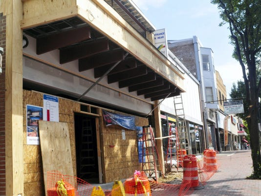 The street view of the under-construction Waynesboro Theater is pictured on Friday. Passersby will see a bright and thriving venue when the theater reopens in early November after being closed for about a year for a 650,000 renovation.