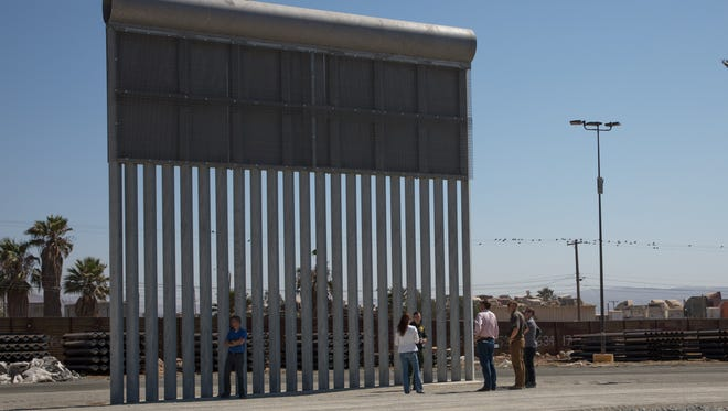 Congressman David Valadao  (R-Hanford) visits border wall prototype site.