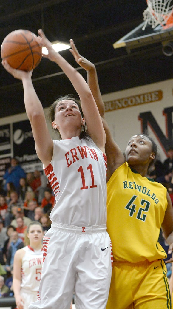 Erwin's Kaitlyn Messer goes up for a shot against AC