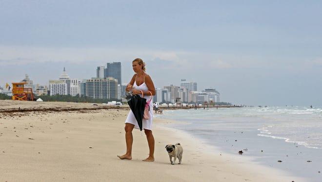 A woman walks her dog on the beach on a cloudy day on Aug. 27, 2015, the South Beach area of Miami Beach, Fla.