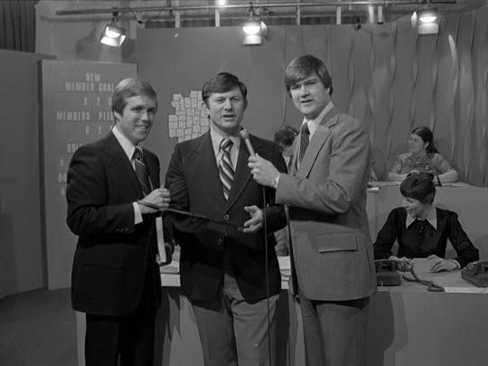 Al Rent (left) and Morry Mannies (center) serve as hosts of a 1979 WIPB-TV Fund Drive.
