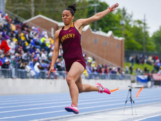Ankeny's Jasmine Rumley competes in the 4A girls long