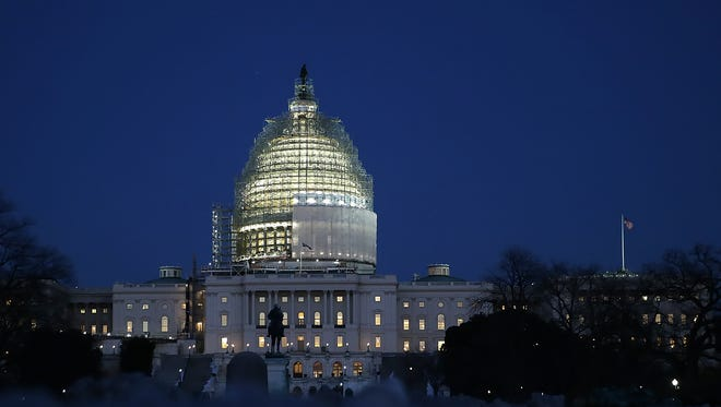 The U.S. Capitol is seen at dusk on Friday.