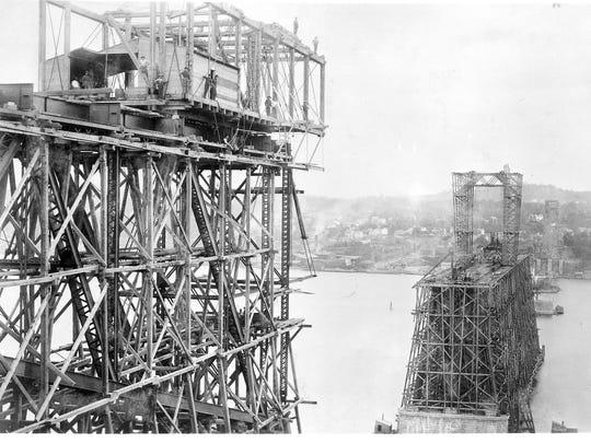 Poughkeepsie railroad bridge under construction, circa