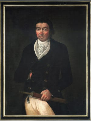 This portrait of Capt. Nathaniel Spooner hangs at the Hedge House Museum in Plymouth.