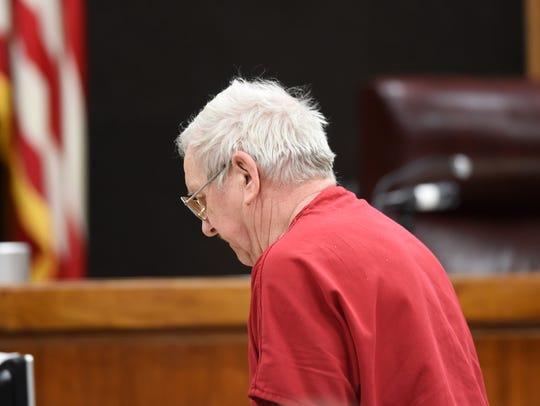 Lee Cromwell leaves court at the Anderson County Courthouse